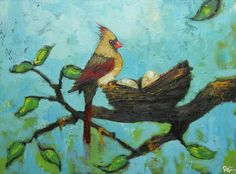 cardinal 26 18x24 inch original oil painting by RozArt