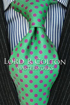 Lord R Colton Masterworks Tie - Havana Green Dot Woven Silk Necktie - $195 New #LordRColton #NeckTie Men Suit Shoes, Suit Combinations, Gq Style, Tied Shirt, Fine Men, Suit And Tie, Tie Knots, Gentleman Style, Tie Dress