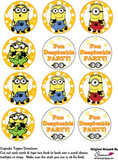 Cupcake Toppers, Despicable Me, Party Decorations - Free Printable Ideas from Family Shoppingbag.com