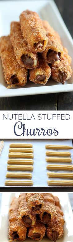 "Nutella Stuffed Churros - One word to describe these - ""AMAZING!""These are all m. Nutella Stuffed Churros - One word to describe these - ""AMAZING!""These are all my FAVORITE things in one dessert! Just Desserts, Delicious Desserts, Yummy Food, Tasty, Deep Fried Desserts, Mexican Food Recipes, Sweet Recipes, Mexican Desserts, Nutella Recipes"