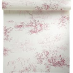 Papier peint vinyle sur intissé Toile de jouy, rouge, larg. 0.53 m | Leroy Merlin