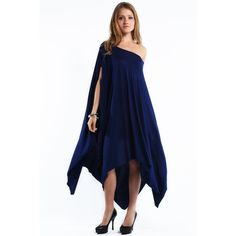 """""""Libra"""" Asymmetrical Poncho Dress Gorgeous, flowy dress with an asymmetrical hemline. Can be worn off shoulder or on. Oh so very soft material. Available in black, navy and mocha. This listing is for the NAVY. This is an actual pic of the dress - I took the photo myself in a studio. Brand new without tags. True to size. Bare Anthology Dresses"""