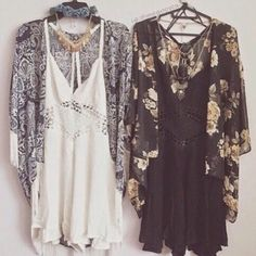 Image via We Heart It #blackdress #cardigan #cute #floral #hipster #outfit #pretty #summer #whitedress
