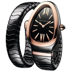 BVLGARI Serpenti 18K Rose Gold & Black Ceramic Single Spiral Band... ($7,800) ❤ liked on Polyvore featuring jewelry, watches, fine jewellery, ceramic jewelry, rose gold watches, red gold watches and rose gold fine jewelry