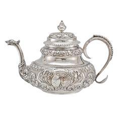 Betteridge Collection Antique Dutch Silver Tea Pot with Twin Crests