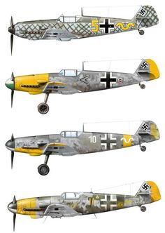 1935-1945 Messerschmitt Bf 109. Luftwaffe, HAF, ANP, RRAF - Fighter. Engine: Daimler-Benz DB 605A-1, liquid-cooled inverted V12, 1,475 PS (1,475 hp, 1,085 kW). Armament: 2 x 13 mm (.51 in) synchronized MG 131 machine guns, 1 x 20 mm (.78 in) MG 151/20 can