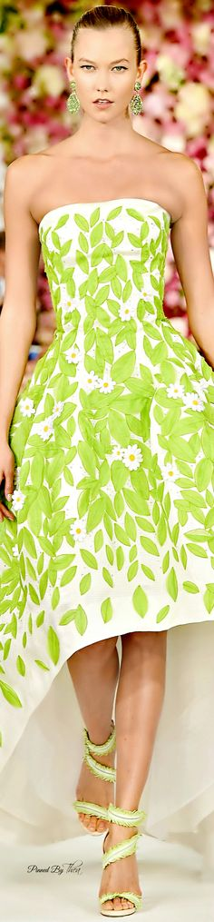 Oscar de la Renta ~ Strapless Spring Dress, Green, 2015