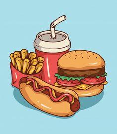 Burger Cartoon, Cartoon Dog, Cartoon Drawings, Coffee Shop Names, Old Greeting Cards, Chicken And Vegetables, Food Illustrations, Art Logo, Art Sketches