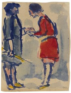 Emil Nolde, Theater scene, two ladies - 1910