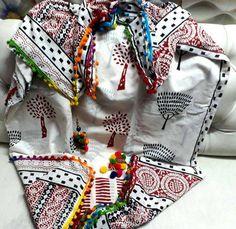 Handblock printed pom pom lace