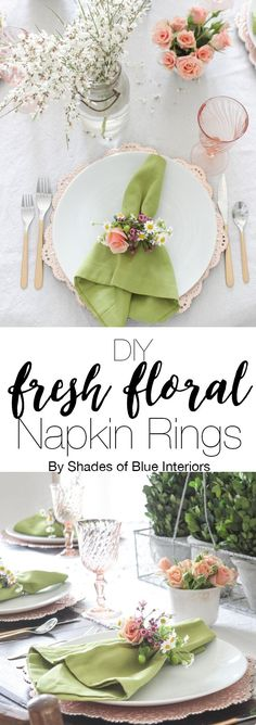 A pink and green spring tablescape with a tutorial on how to make fresh floral napkins. Great inspiration for Easter, garden party, baby shower, or wedding.