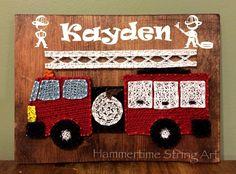 Fire truck String Art kids room decor