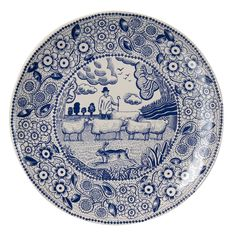 Set of 6 Ceramic Plates for Cheese by John Broadley for The Fine Cheese Co. Shepherd on blue and white china.