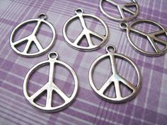 Large Peace Sign Tibetan Silver Charms (6) TS318