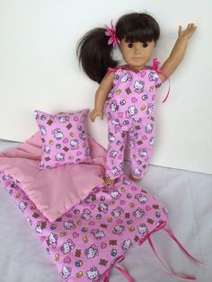 Over 65 Doll Sleeping Bag HELLO KITTY & Pj Set.  by TheDollysMama, $32.50