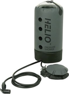 Portable Camp Shower Unlike gravity camp showers that need to be hung overhead and produce dismal water pressure, Helio™ rests on the ground and delivers the pressure you need to wash hair, do the dis