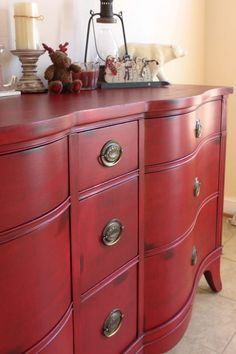 Drexel Red Stain-Over-Paint Dresser - The Sociable Home Chalk Paint Colors Furniture, Red Chalk Paint, Painted Bedroom Furniture, Colorful Furniture, Chalk Painting, Wood Furniture, Diy Furniture Projects, Furniture Makeover, Diy Projects