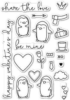 Poppystamps - Be Mine Penguins - Clear Stamp Set