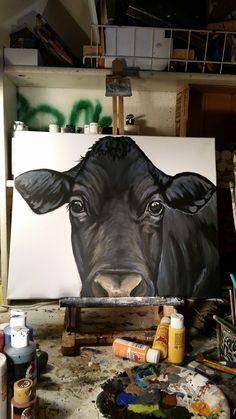Want to paint Tuff Cow Painting, Painting & Drawing, Animal Paintings, Paintings Of Cows, Wood Paintings, Cow Pictures, Farm Art, Cow Art, Painting Inspiration