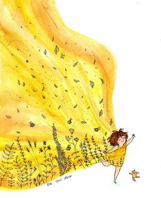 Art And Illustration, Watercolor Illustration, Watercolor Paintings, Watercolour, Mellow Yellow, Graphic, Doodle Art, Easy Drawings, Cute Art