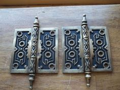 Large Brass Gothic Door Hinges