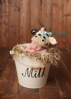newborn Cow Hat... baby cow hat....photo prop..knit hat... Photography… More