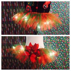 Custom Ugly Christmas Sweater Party Adult TUTU size medium, lights and poinsettia color red, sparkly red, green