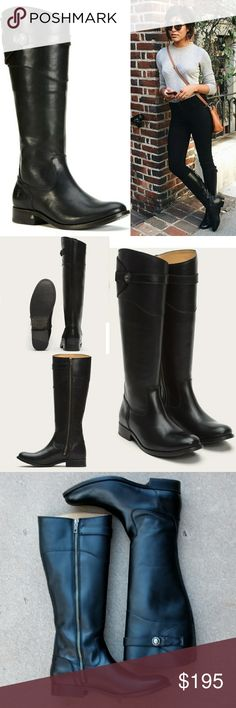"""FRYE Molly Button Tall Leather Boots A beautiful nod to the equestrian life. The classic riding boot silhouette is given Frye's handcrafted spin with artisanal handiwork seen in every detail. Smooth vintage leather is stitched together, polished up and finished off with its distinctive strap and Double F button.  Antique metal hardware.  Appx 14 1/2"""" shaft height, 14 2/5"""" shaft circumference.  Leather stacked heel.  Store display.  Tried on but never actively worn.  EUC.  See pics.  Black…"""