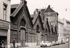 De vismijn, vismarkt in de Riemstraat, in de jaren 1950. Vooraan een vishandelaar, mosselverkoper. Mosselen die kon je aan de vismijn los kopen, je moest wel een emmer meebrengen.