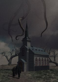 """sect-of-the-idiot:"""" Church of Starry Wisdom - Moody by tikirussy"""" Cthulhu Art, Call Of Cthulhu Rpg, Lovecraft Cthulhu, Hp Lovecraft, Gothic Horror, Horror Art, Gothic Art, La Sombra Sobre Innsmouth, Half Elf"""