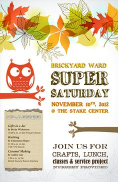 Love this poster for Super Saturday!
