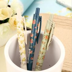 Find More Ballpoint Pens Information about 3pcs/lot 3 Colors New Cute Cartoon Vintage Flower Ballpoint Ball Pens Plastic Kawaii Stationery Creative Gifts Free shipping 112,High Quality pen school,China pen storage Suppliers, Cheap pen drive 4 gb from 10 dollar Novelty stationery store on Aliexpress.com