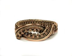 Copper Wire Ring Handmade Statement Ring by whitecloverstudios