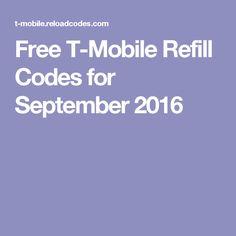 Free T-Mobile Refill Codes for September 2016