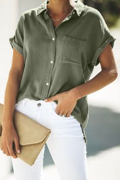 2019 Fashion Women Batwing Sleeve Cotton Linen Blouse Short Elegant Turn-Down Collar Summer Shirt Solid Pockets Casual Tops Summer Work Outfits, Casual Work Outfits, Mode Outfits, Work Casual, Casual Shirts, Business Casual Clothes, Button Down Shirt Outfit Casual, Women Business Casual, Casual Shirt Look