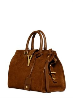SAINT LAURENT - SMALL CABAS Y SUEDE LEATHER BAG - LUISAVIAROMA - LUXURY SHOPPING WORLDWIDE SHIPPING - FLORENCE
