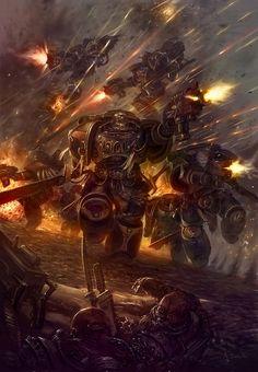 Warhammer 40k Artwork. Blood Angels Space Marines, Death Company