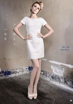 #short-sleeved wedding dress #wedding gown   A modern bridal shift.  @ I Love You by Max Chaoul 2012 Collection