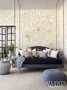 Daybed swing? YES! Please. - from my favorite home on the 2016 Cathedral Tour of Homes - design by Sherry Hart {Design Indulgence}