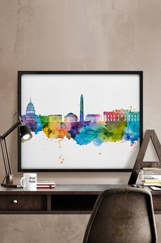 Washington DC Art Print Watercolor Poster Art City by iPrintPoster