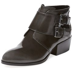 Pure Navy Women's Nathaniel Double Monkstrap Ankle Bootie - Dark Grey,... (3.110 RUB) ❤ liked on Polyvore featuring shoes, boots, ankle booties, dark grey, stacked heel booties, navy booties, ankle boots, short leather boots and leather bootie