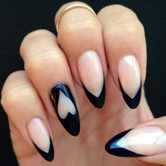 Navy blue pointy tips and heart detail #nailart