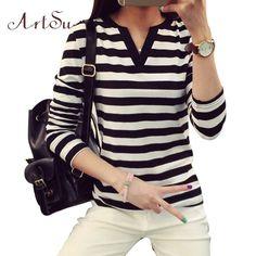 Women Long Sleeve Casual Striped V-Neck Tee Shirt