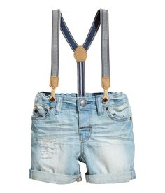 Check this out! 5-pocket shorts in soft, washed denim with heavily distressed details. Adjustable elasticized waistband, fly with button, and sewn cuffs at hems. Detachable elastic suspenders with imitation leather details. - Visit hm.com to see more.