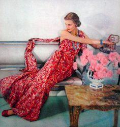Summer dress fashion for Vogue US, 1951.