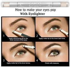 How to make your eyes pop with eyelighter.. something EVERY girl should know!! :) I hardly ever wear makeup, but when I do, maybe I should try this for my tired eyes! :)