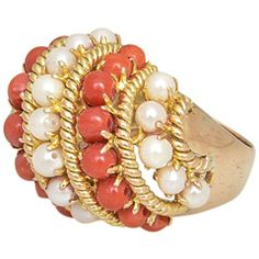 1960's - 1970's Coral and Cultured Pearl Dome Gold Ring