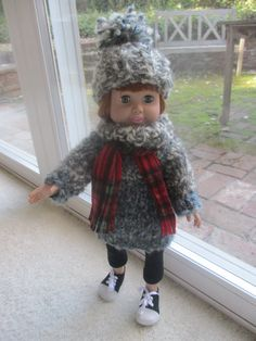 Knitted sweater and hat for 18 inch doll