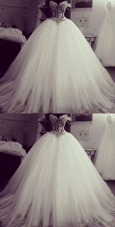 Crystal Beading Princess Romatic Wedding Dresses, Tulle Ball Gown, - -Gorgeous Crystal Beading Princess Romatic Wedding Dresses, Tulle Ball Gown, - - Lavish Tulle Sweetheart Neckline Basque Waistline Ball Gown Wedding Dress With Lace Appliques & Bead. Princess Wedding Dresses, Best Wedding Dresses, Bridal Dresses, Wedding Gowns, Tulle Wedding, Crystal Wedding, Wedding Attire, Princess Bridal, Princess Ball Gowns