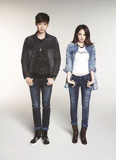 Actor Lee Jong Suk and Davichi's Kang Min Kyung Wear Matching Clothes for G by Guess